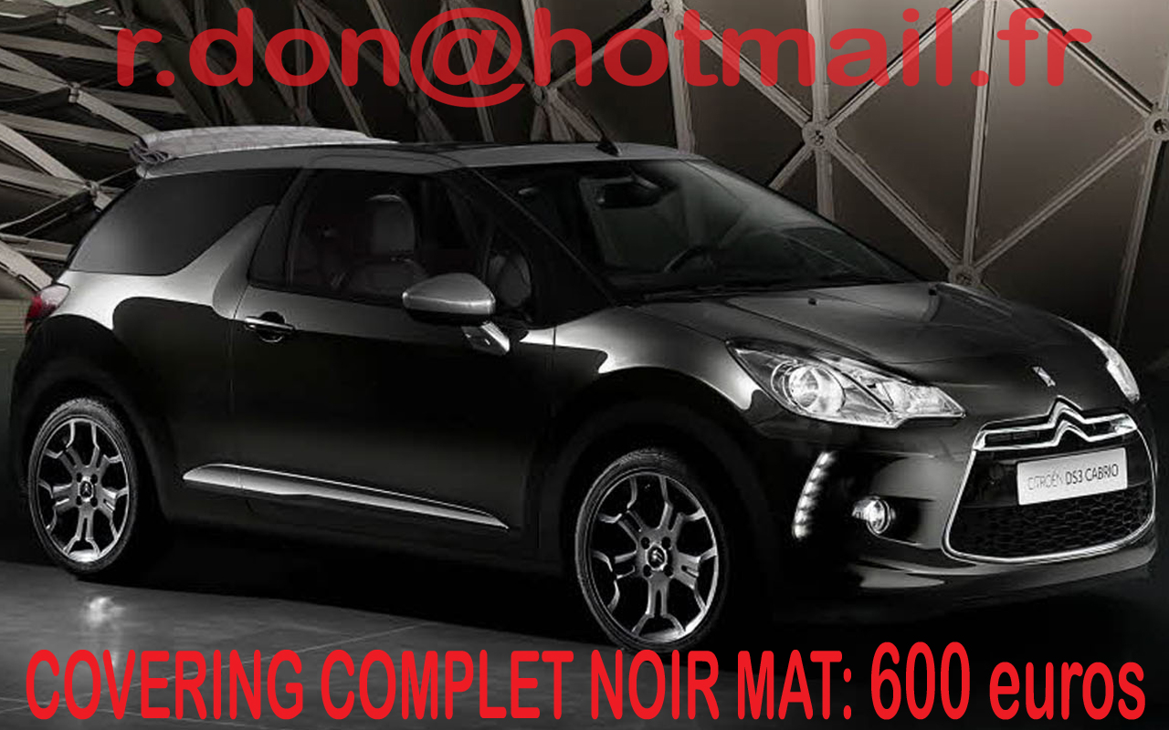 citroen ds3 covering citroen ds3 noir mat. Black Bedroom Furniture Sets. Home Design Ideas